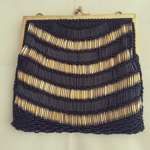 Women's Vintage Gold & Black Beaded Clutch